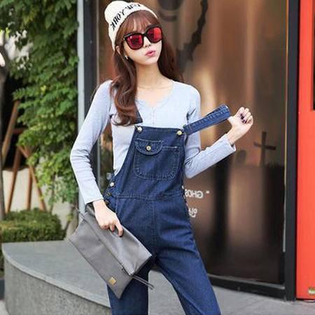 包邮 秋装新款韩版牛仔裤女宽松休闲牛仔背带长裤