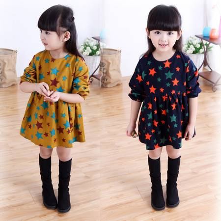 新款女童韩版满版五角星长袖棉质裙衫连衣裙