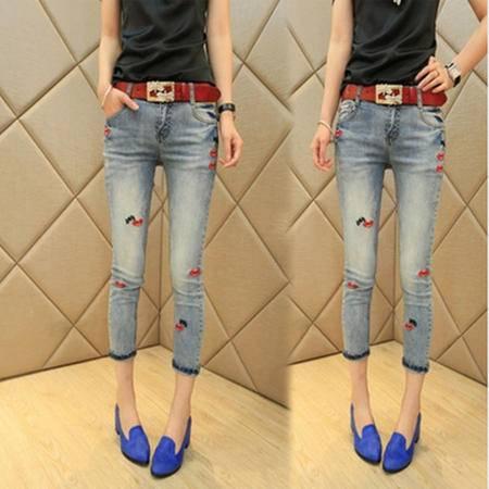 包邮 新品九分裤新款女装韩版 时尚潮款显瘦牛仔裤铅笔裤