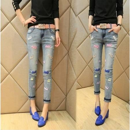 包邮 新款女装韩版 时尚潮款显瘦休闲裤牛仔裤铅笔裤长裤