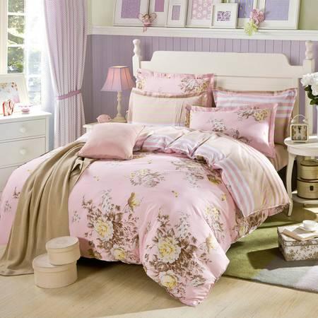 瑶行床品 包邮包邮 100%纯棉四件套 全棉斜纹印花套件 床单款床上用品