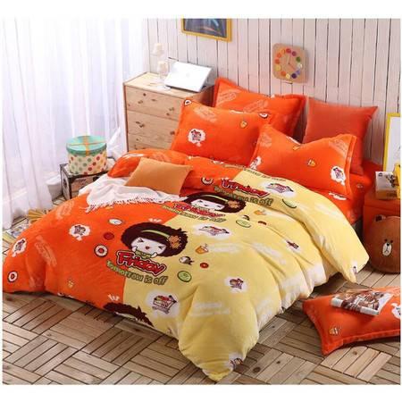 瑶行床品 包邮 220*230cm双面加厚法莱绒四件套标准 升级版珊瑚绒套件 法兰绒被套
