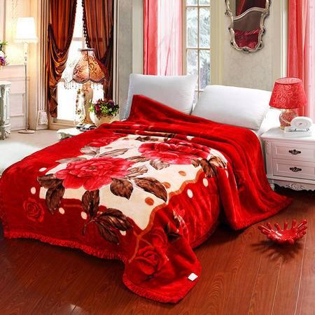 瑶行床品 包邮婚庆拉舍尔毛毯200*240cm (9斤) 加厚超柔不掉毛双层毯子秋冬新品礼品