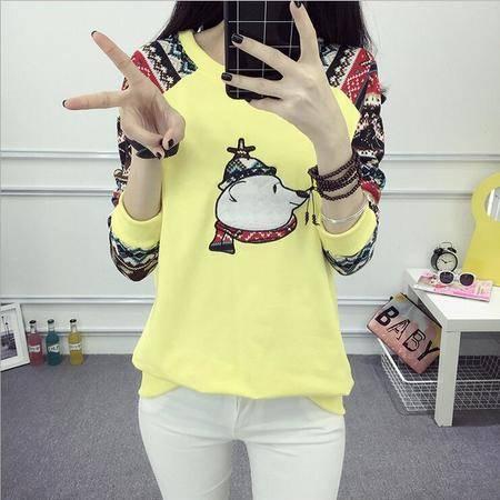 瑶行服饰 秋冬装新款卡通印花长袖套头韩版学生装宽松卫衣打底衫女 A7900