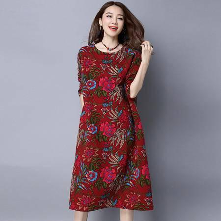 瑶行服饰 民族风大码女装加厚打底裙宽松圆领长款百搭长袖连衣裙