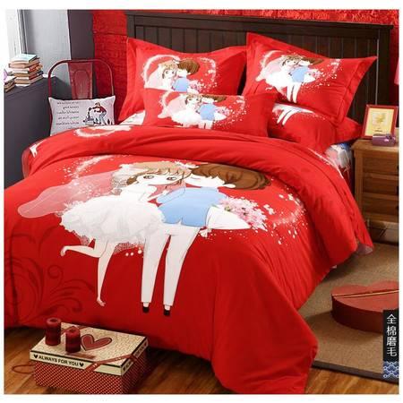 瑶行床品 包邮民族风 全棉磨毛加厚大版花四件套 纯棉印花套件床单床上用品婚庆被套200*230cm