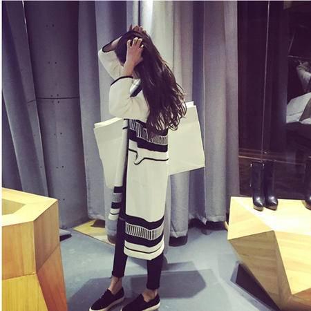 瑶行 秋装新款韩版女装针织开衫大码宽松中长款毛衣外套女