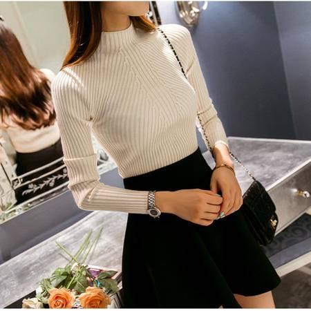 瑶行 春秋韩版新款打底针织衫半高领女外套长袖套头