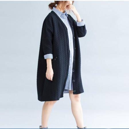 瑶行服饰   新款大码女装纯棉圆领单排扣外套拼接显瘦开衫外套