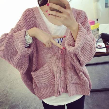 瑶行 韩版秋冬新款毛衣女外套 大码宽松蝙蝠袖V领针织衫开衫