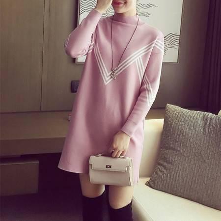 瑶行 春装韩版新款条纹针织衫半高领长袖套头毛衣外套女中长款