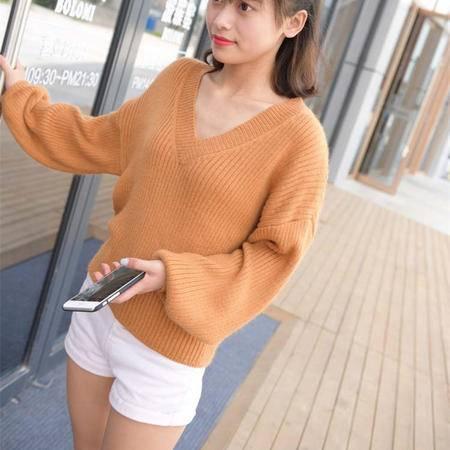瑶行 秋冬韩版新款大V领套头蝙蝠针织衫宽松显瘦灯笼袖短款毛衣女外套