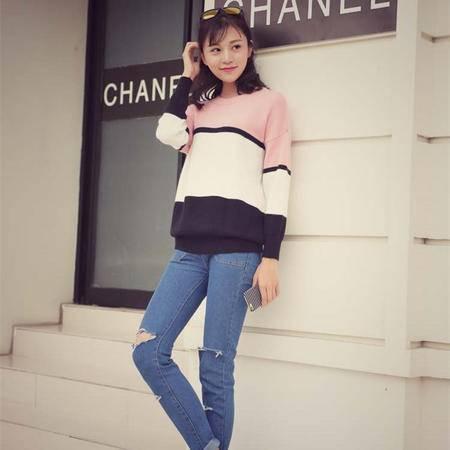 瑶行 秋冬韩版新款圆领套头宽松显瘦针织衫百搭条纹外套毛衣女上衣