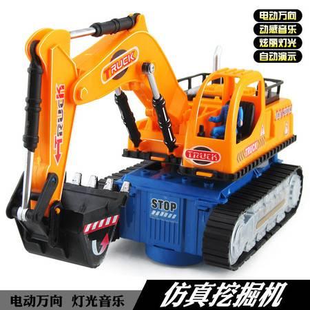 瑶行 儿童玩具电动玩具车工程车挖土车模型音乐灯光万向动作
