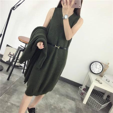 瑶行 秋冬韩版新款宽松大码长款针织衫两件套针织裙外套毛衣女套装