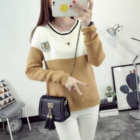 瑶行 秋冬韩版新款套头圆领针织衫拼色长袖毛衣女装外套