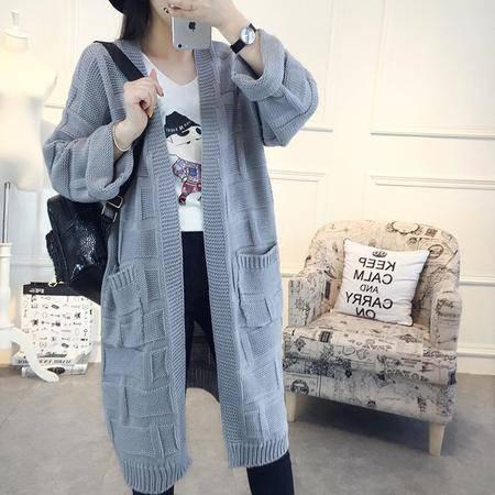 瑶行 秋季韩版新款中长款针织衫开衫宽松大码百搭毛衣女外套上衣潮