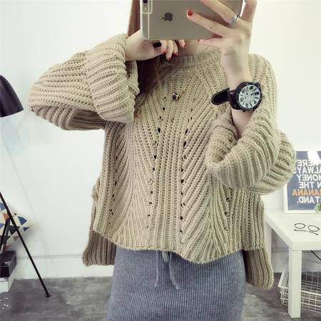 瑶行 秋冬韩版新款套头镂空针织衫大码宽松圆领长袖毛衣女装外套潮