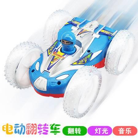 瑶行 玩具 包邮 音乐灯光电动翻斗车 儿童模型玩具特技反斗双面车