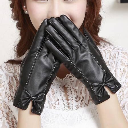 瑶行 冬季水洗皮服饰手套女式 黑色均码加绒保暖全触屏手套