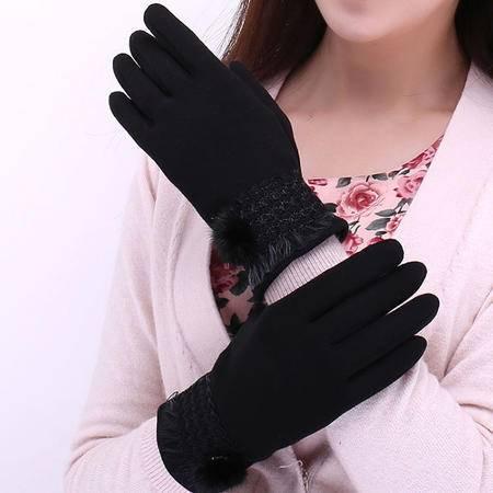 瑶行 女士不倒绒水貂毛球保暖手套韩版时尚宽花边触摸屏手套