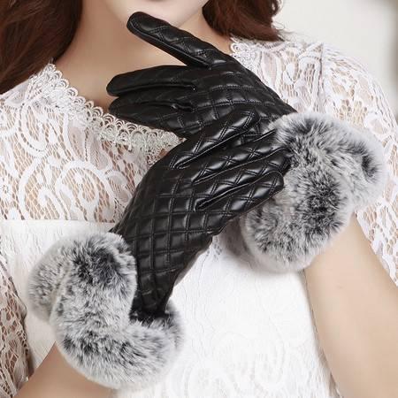 瑶行 新品女士仿獭兔毛皮手套双线格子冬季加绒保暖全触屏手套