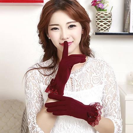 瑶行 冬季女士蕾丝蝴蝶结不倒绒手套 触屏感应保暖手套韩版加绒手套