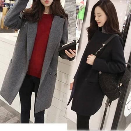 瑶行 韩版女中长款简约西装加棉长大衣羊绒昵子厚外套