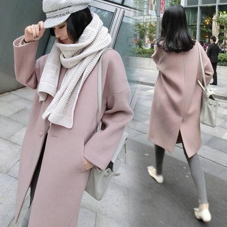 瑶行服饰   新款韩版茧型毛呢外套女装中长款廓形宽松粉色呢子大衣女