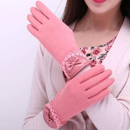 瑶行 女士不倒绒蕾丝花边手套粉色PU蝴蝶结冬季防寒服饰手套