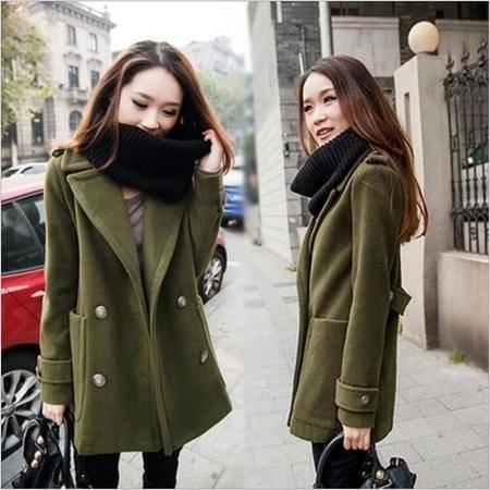 瑶行服饰 秋冬毛呢外套女新款时尚欧美大码英伦风中长款羊绒呢子大衣女