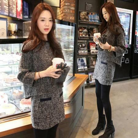 瑶行 秋冬季新款韩版女装显瘦两件套套装裙子毛呢长袖上衣连衣裙