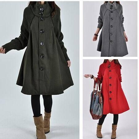 瑶行服饰   冬季新款韩版大码女装中长款宽松呢子大衣斗篷毛呢风衣外套