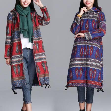 瑶行服饰   秋冬民族风加绒中长款大码女装显瘦连帽长袖棉麻外套