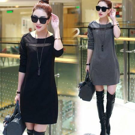 瑶行服饰   新款韩版大码女装打底衫女中长款长袖宽松显瘦t恤连衣裙加绒