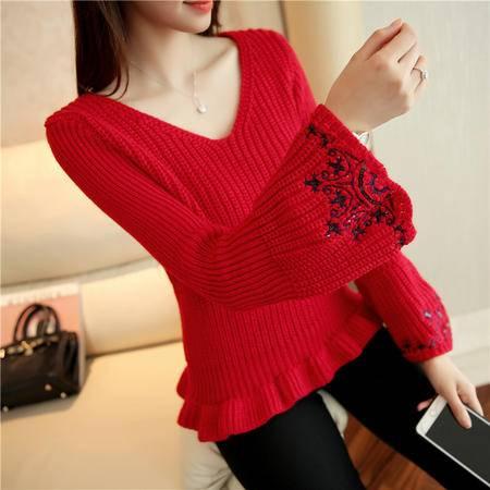 瑶行 秋冬新品韩版女装V领针织衫喇叭长袖打底套头宽松毛衣
