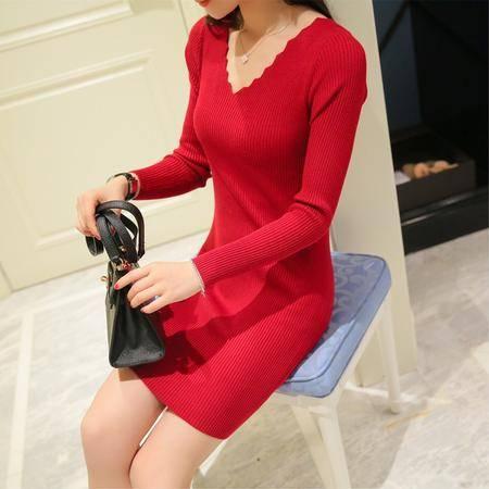 瑶行 V领连衣裙秋装新款韩版针织衫修身显瘦女装中长款套头打底衫长袖
