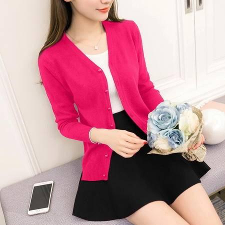 瑶行 秋季新品韩版新款小开衫显瘦短款针织披肩女装毛衣薄外套