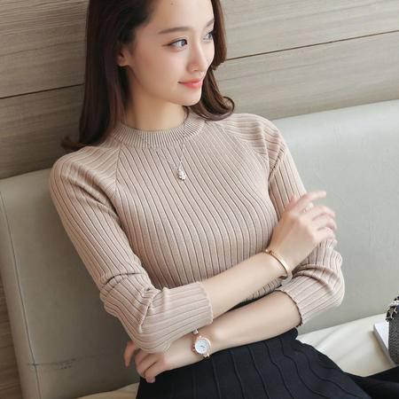 瑶行 新品秋冬女装韩版针织圆领打底衫修身长袖弹力毛衣