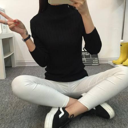 瑶行 秋冬新品韩版半高领毛衣女短款加厚打底衫女冬修身套头长袖针织衫