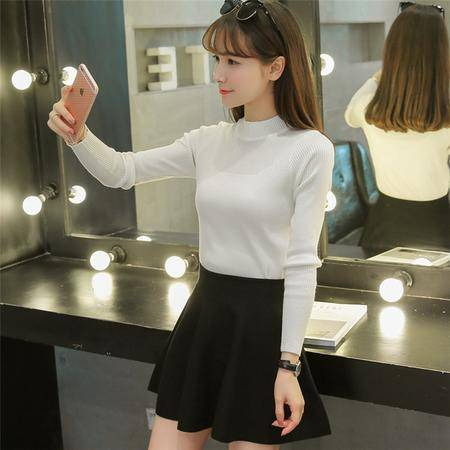 瑶行 半高领打底衫加厚毛衣女秋冬新款女装韩版长袖针织衫修身显瘦套头