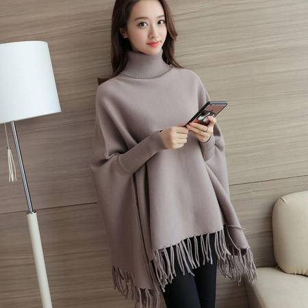瑶行 秋季新品韩版女装针织衫套头衫蝙蝠型长袖高领蝙蝠袖纯色毛衣