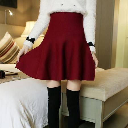 瑶行 春装新款针织韩范半身裙百褶裙蓬蓬伞裙高腰打底小短裙A字裙