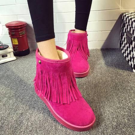 瑶行 女鞋 包邮冬季女靴子平底防滑流苏雪地靴女加厚绒短靴学生平跟短筒磨砂棉鞋