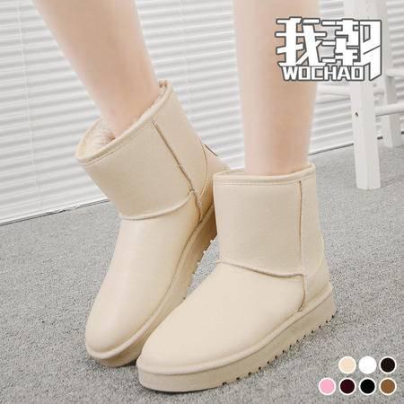 瑶行 包邮 女鞋秋冬季防水防滑皮面短筒雪地靴女短靴平底加厚加绒棉鞋女靴子