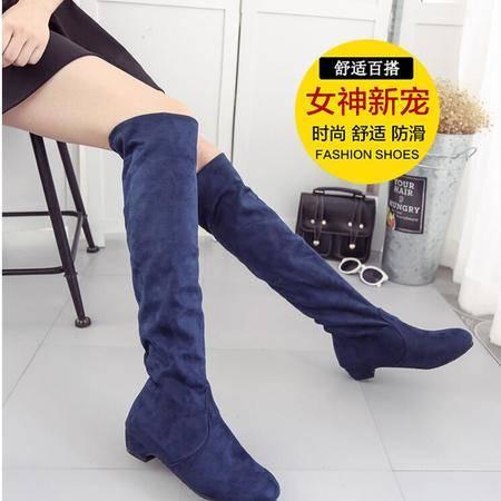 瑶行 女靴包邮长筒靴弹力过膝靴低跟长靴瘦腿秋冬季靴子女式高筒靴冬欧美时尚潮
