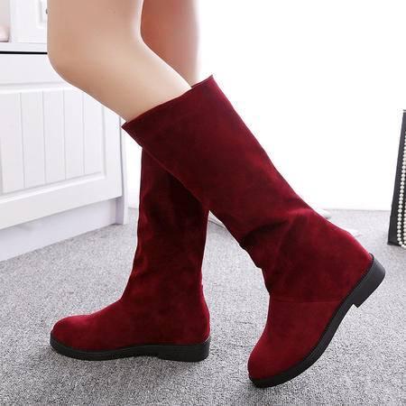 瑶行 女鞋 包邮2016秋冬单靴平底中跟短靴绒面长内增高中筒靴磨砂皮学生显瘦女靴