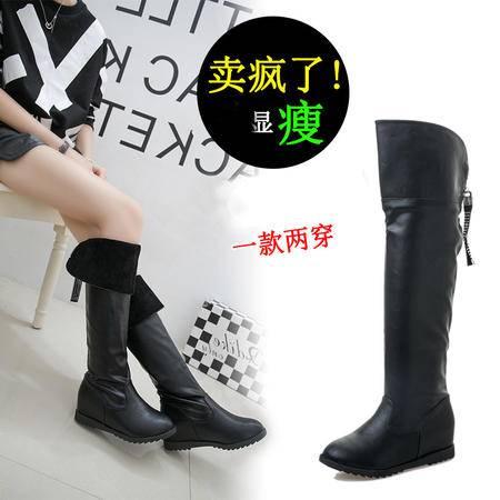 瑶行 女靴包邮女冬靴高筒靴过膝靴长靴中跟皮靴秋季新款平底女靴瘦腿内增高显瘦加棉款