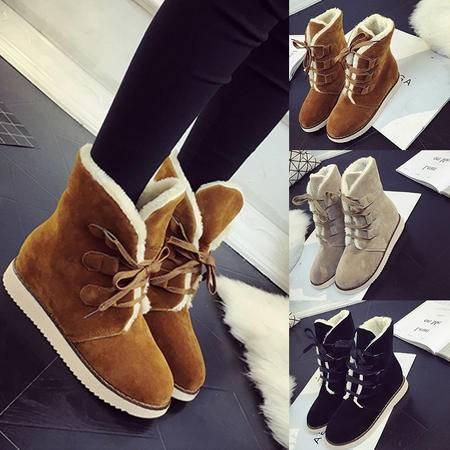 瑶行 女靴包邮秋冬季马丁靴女短靴雪地棉靴学生中跟加绒平底磨砂韩版系带女靴潮