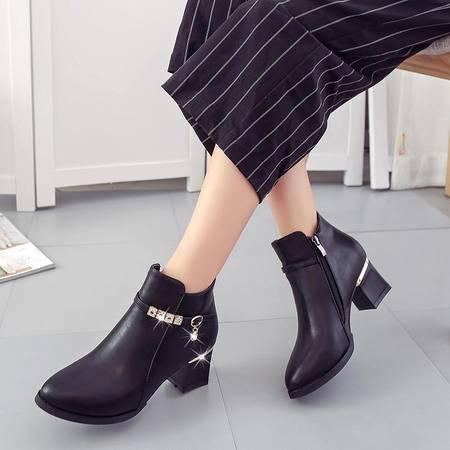 瑶行 女鞋包邮韩版2016女靴新款高跟鞋短靴粗跟圆头马丁靴秋季扣带纯色女鞋单靴 903